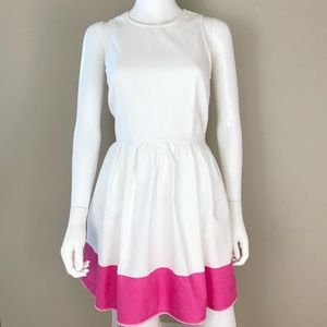 Gap Fit And Flare Pink White Dress Size 2 Raw Hem